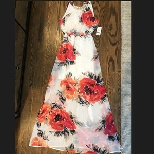 Floral Maxi Dress with Jeweled Necklace Neckline